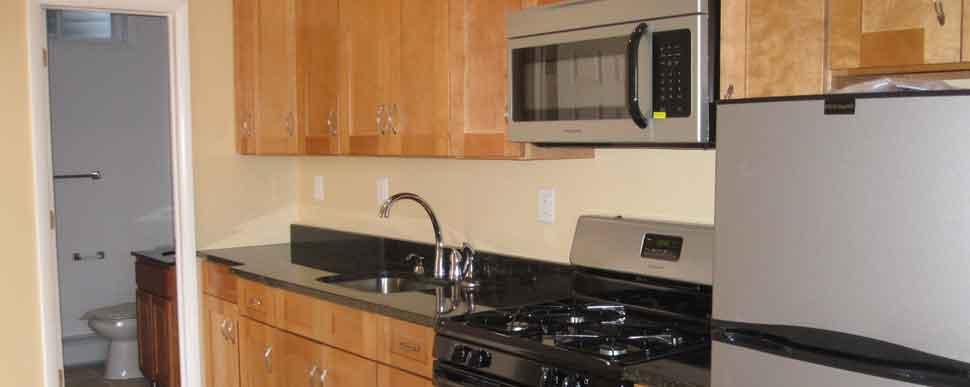 Renovated apartment kitchen view