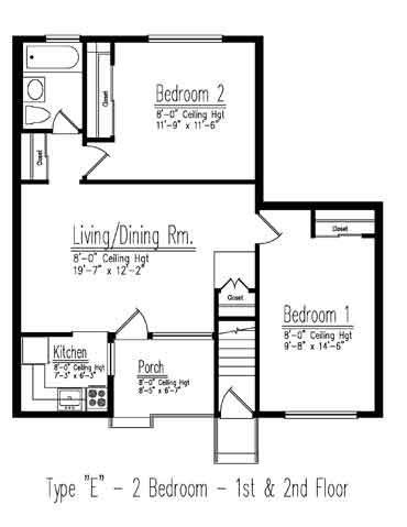 Type E 2 Bedroom Floor Plan
