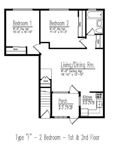 Type F 2 Bedroom Floor Plan